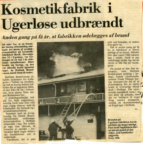 Avisartikel fra 11. januar 1986 om branden.