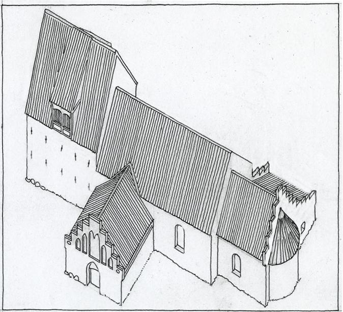 gammel håndtegning af den tidligere kirke