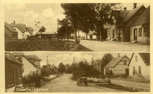 Hovedgaden ca. 1920 - Billede 1. Øverst er det set mod syd. Vindmøllen stod ved Uggerløse Maskinfabrik, Hovedgaden 59. Nederst også set mod syd, men længere oppe mod krydset ved Bonderupvej. Skorstenen tv. er bagerens.
