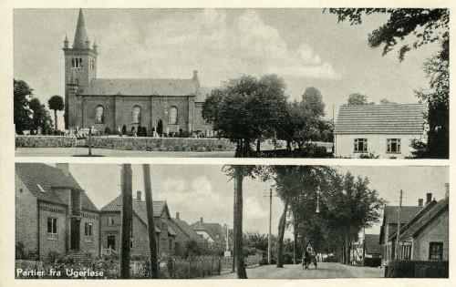 Hovedgaden ca. 1938 - Billede 2 Øverst kirken og Hovedgaden 39. Nederst tv. er det kommunekontoret/sognekontoret Hovedgaden 49 (det gule hus lige overfor Brugsens udkørsel).