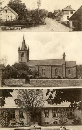 Ugerløse ca. 1925 - Billede 3 Øverst tv. Hovedgaden 18 th. et stråtækt hus som ikke findes længere. Nederst Præstegården som nu er Ugerløse Fritidscenter.