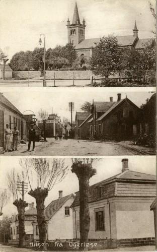 Billede 61 - Øverst kirken I midten Bageren tv og Hovedgaden 28 th Nederst Bonderupvej 4 - 8 Kortet er fra ca. 1915