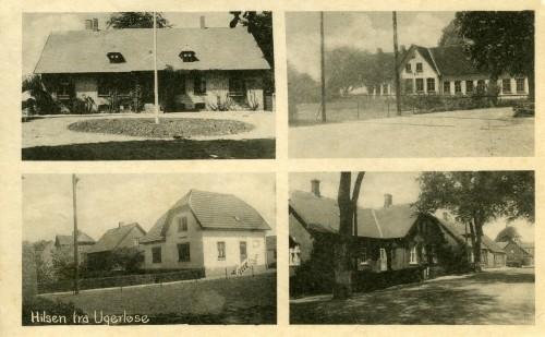 Ugerløse ca. 1930 - Billede 4 Ø.tv. Præstegården, som nu er Ugerløse Fritidscenter. Ø.th. Skolen N.tv. Det hvide hus er Hovedgaden 55 N.th. Forskolen