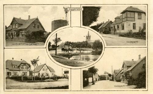 Ugerløse ca. 1915 - Billede 6 Ø.tv. Hovedgaden 28 med det gamle vandværk Ø.th. Hovedgaden 13 N.tv. Hovedgaden 57 og 59 (Ugerløse Maskinfabrik) N.th. Hovedgaden 28 (th) og den gamle smedie, Hovedgaden 27 (tv)