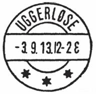Uggerløses andet poststempel - et såkaldt brotypestempel. Det blev benyttet fra 1913 - 1933.