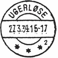 Ugerløses tredje og sidste poststempel - nu med kun et G. Stemplet blev benyttet fra 1934 og frem til 1992, hvor det selvstændige posthus lukker og flytter i Dagli'Brugsen.