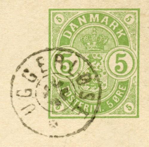 Uggerløses første poststempel - et såkaldt stjernestempel. Det blev benyttet fra 1871 - 1913.