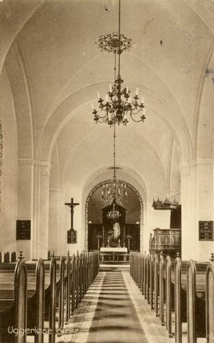 Ugerløse Kirke ca. 1914 - Billede 44 Her er den ældre loftsudsmykning overmalet.