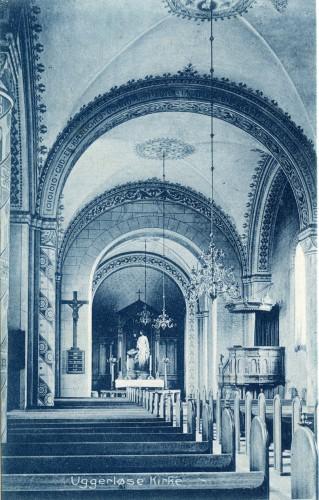 Uggerløse Kirke interiør ca. 1910 - Billede 43 Det gamle interiør med bemaling i stor stil.