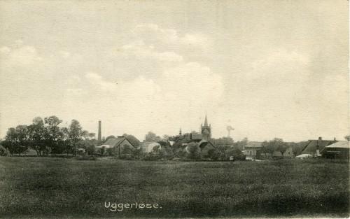 Ugerløse set fra Bonderupvej - Billede 64 Skorstenen er bagerens i Hovedgaden 21 og billedet er fra ca. 1920