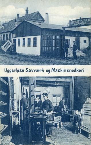 Uggerløse Savværk ca. 1910 - Billede 48 Savværket lå Bonderupvej 1-3 - det som mange kender som Skjærbæks hus - på hjørnerne mellem Holbæk Landevej og Tølløsevej. Det er først senere i historien at Ugerløse Savværk bag Hovedgaden 19 oprettes. Huset i baggrunden er Holbæk Landevej 2.