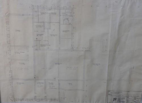 Mejeriets grundplan. Tegningen hænger hos Anders Rasmussen, som i dag ejer ejendommen.